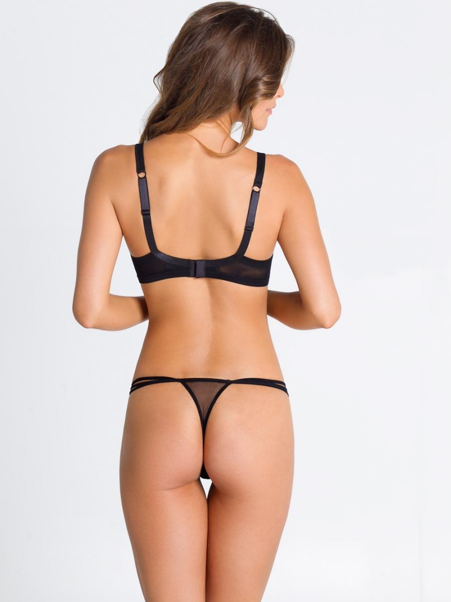 Parah Noir Trasparenze - underwire bra&g-string c back black